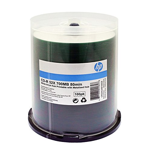 HP CD-R 52X 80 MIN WHITE INKJET PRINTABLE METALIZED HUB 100P