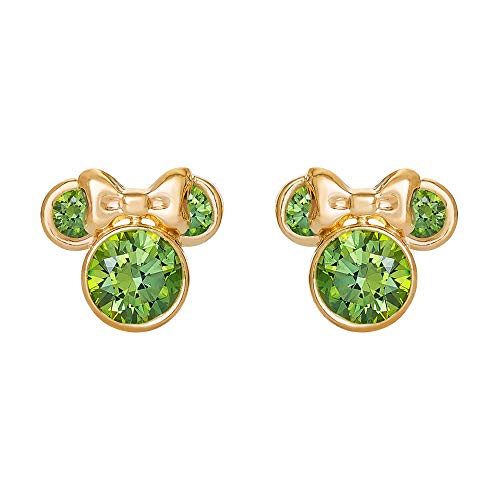 - Disney Minnie Mouse 10K Gold Birthstone Stud Earrings, August Light Green Cubic Zirconia; Mickey's 90th Birthday Anniversary