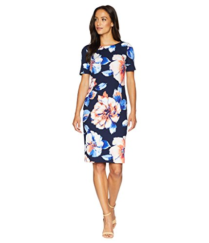 Tahari by ASL Women's Floral Scuba Crepe Sheath Dress Navy/Peach/Ivory 6 ()