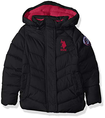 - US Polo Association Girls' Toddler Hooded Bubble Jacket with Piping Detail, Black, 2T
