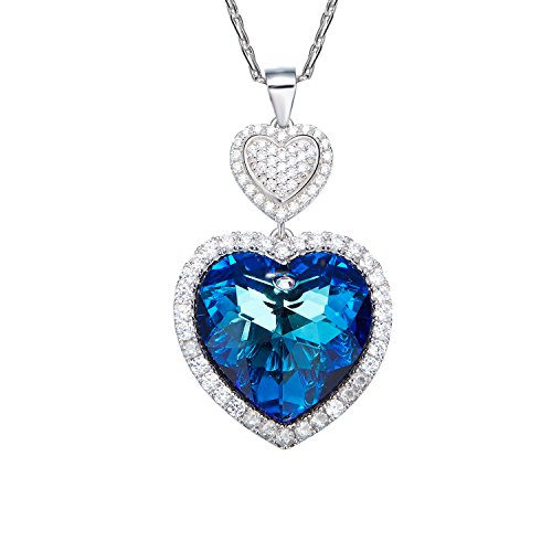 [D.B.MOOD Women's 18k White Gold Plated Love Heart Pendant Necklace Made with Austria Crystals Valentine's Day Gift] (Titanic Costumes Ideas)