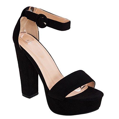 8338 Sandali Tacco Scarpe Eleganti 8 Comodo Toocool Cinturino Scamosciate Tacchi Nero Donna zwTTZ
