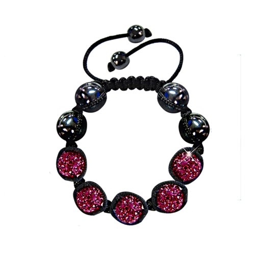 [Twinkle Braided Beads Bracelet - Good Energy Eight Crystals (Hot Pink)] (Homemade Hippie Costumes Ideas For Women)