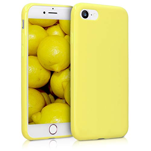 kwmobile TPU Silicone Case for Apple iPhone 7/8 - Soft Flexible Shock Absorbent Protective Phone Cover - Pastel Yellow Matte