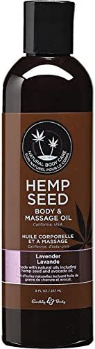 Earthly Body Hemp Seed Massage and Body Oil, Lavender 8.0 Ounce