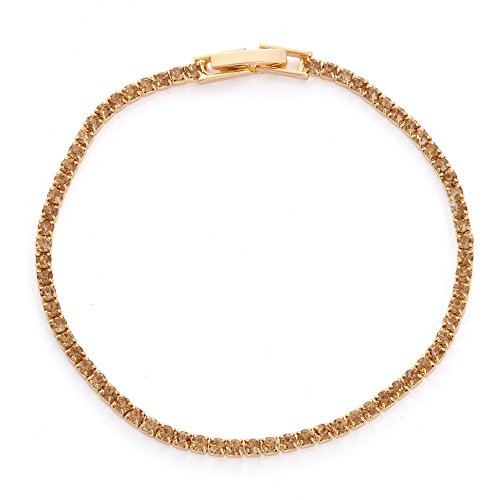 Collection Bijoux 14K Gold Plated Single Row Color Crystal Tennis Bracelet, 7.5