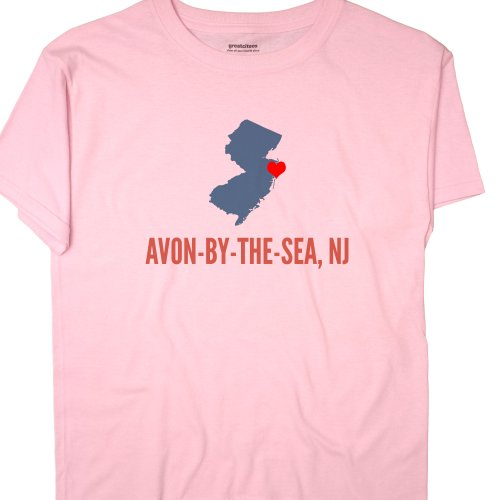 GreatCitees Unisex Avon-by-the-sea New Jersey NJ T Shirt HEART 3X Pink
