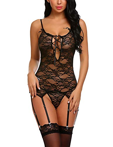 (Avidlove Women Lace Lingerie Set Strap Bodysuit Babydoll Garter Belt Teddy Outfits Black S)