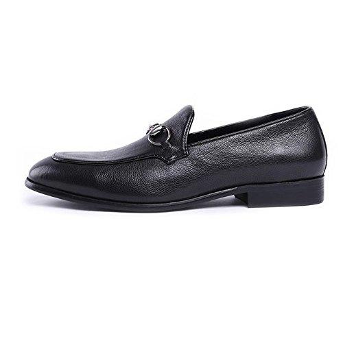LYZGF Hommes Jeunes Entreprises Occasionnels Mode Coiffure Gentleman Mariage Chaussures en Cuir Black 5XHiGl