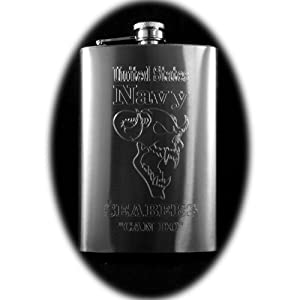 """8oz """"United Staes Navy Seabees"""" Hip Flask """"Can Do"""" from Hip Flask Plus"""