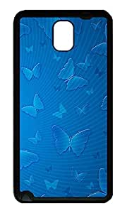 Note 3 Case, Galaxy Note 3 Case, [Perfect Fit] Soft TPU Crystal Clear [Scratch Resistant] Blue Butterflies Illustration Ideas Back Case Cover for Samsung Galaxy Note 3 N9000 Cases