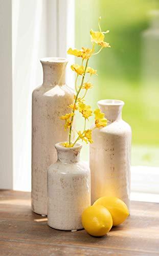 "Sullivans Small Ceramic Vase Set of Three (3), 5"", 7.5"" & 10"" Tall, Modern Farmhouse Off-White Crackled Finish Faux… 3"