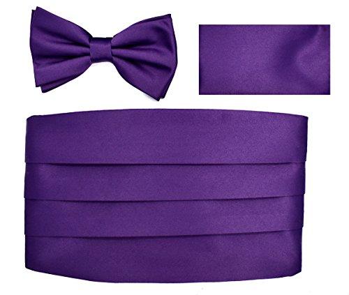 Cummerbund Bow-Tie Hanky Set (Solid Dark Purple)-BB ()