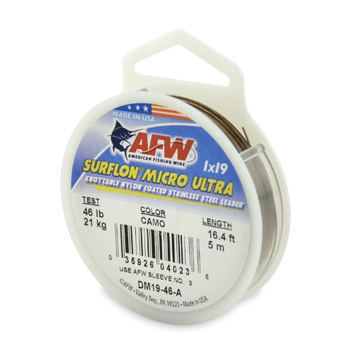 American Fishing Wire Surflon Micro Ultra Nylon Coated 1x19 Stainless Steel Leader Wire, Camo Brown Color, 46 Pound Test, - Leader Coated Wire