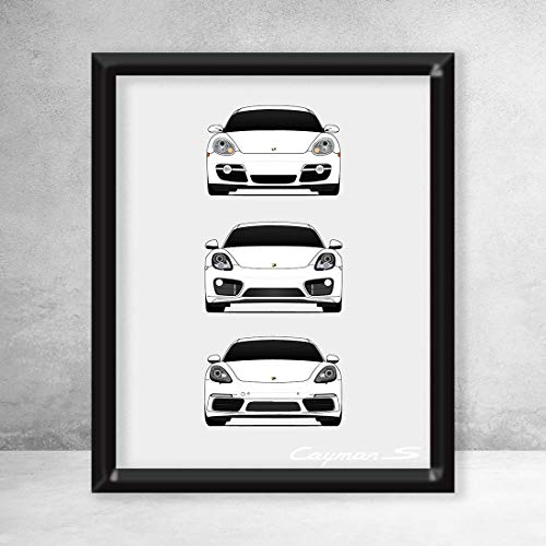 Speedster Motor Cars - Porsche Cayman Poster Print Wall Art of the History and Evolution of the Cayman Generations (Car Models: 718/981/ 987