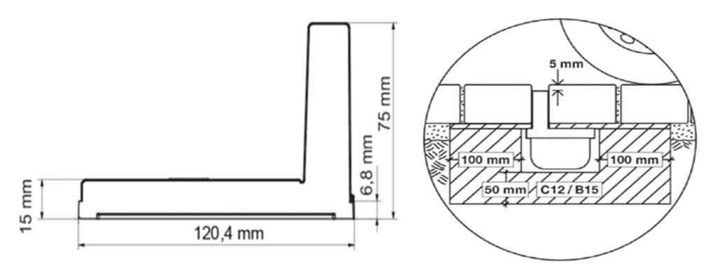 ACO Self/® Hexaline Entw/ässerungsrinne mit Schlitzrahmenaufsatz 1,0 m