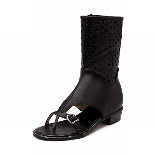 Carol Schoenen Mode Dames Rits Zomer Gebruik Gesp Lage Dikke Hak Slippers Sandalen Zwart