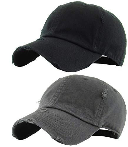Music Music Black Cap - H-218-2-D0670 Distressed Baseball Cap Bundle: Black & Charcoal