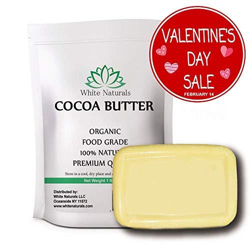 Organic Raw Cocoa Butter 1 lb, Food Grade, Unrefined, Pure,