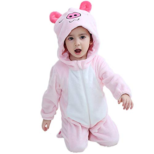 M&A Baby Girls Onesie Piggy Romper Infant Toddler Jumpsuit Winter Pajamas Costumes ()