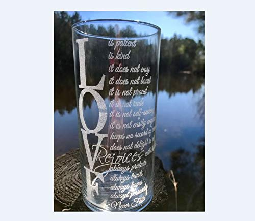 Personalized, Engraved, Vase, Candle Holder, Custom Corinthians 13:4 glass vase,Wedding Vase,Anniversary,Quote on glass Vase,LOVE,Valentines -