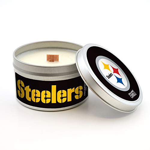Pittsburgh Steelers Candle Nfl (Worthy Promotional NFL Pittsburgh Steelers Citrus Scented Wood Wick Candle in Travel Tin with Lid, 5.8-Ounce)