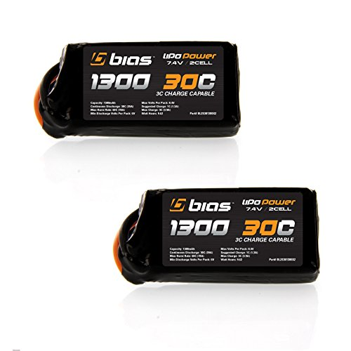Slow Stick Lipo (GWS Slow Stick RC Airplane 30C 2S 1300mAh 7.4V LiPo Battery x2 Packs by Bias)