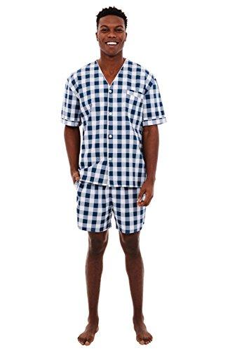- Alexander Del Rossa Mens Woven Cotton Pajama Set, V-Neck Button-Down Shorts Pjs, Small Navy Blue Gingham Plaid (A0698R12SM)