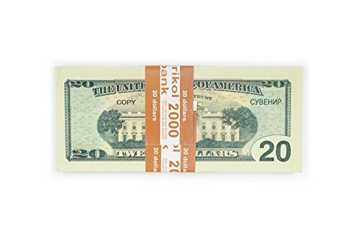 Prop Money, Play Money Pretend $20 Dollar Bills, Full Print Stack, Double-Sided Banded