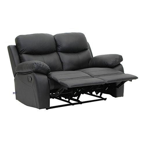 Dual Rocking Reclining Loveseat - VH FURNITURE Sofa Recliner Loveseat In Top Grain Leather Classical Design Black