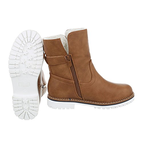 Ital-Design Klassische Stiefeletten Damenschuhe Schlupfstiefel Blockabsatz Blockabsatz Reißverschluss Stiefeletten Camel