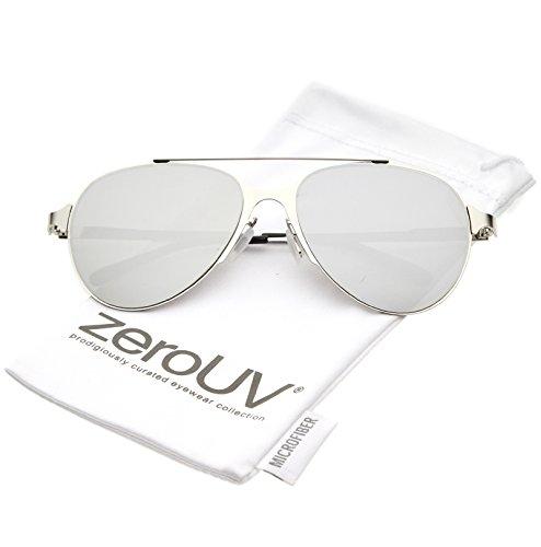 zeroUV - Ultra Sleek Straight Metal Crossbar Color Mirrored Flat Lens Aviator Sunglasses 56mm (Silver / Silver - Victoria Beckham Mirrored Sunglasses Aviator
