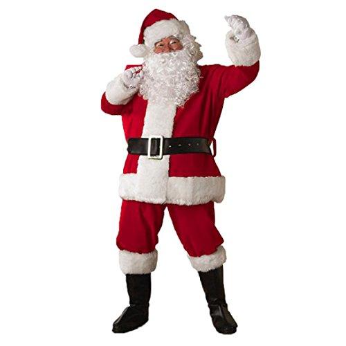 Hometom Santa Suit, Christmas Men Suit + Pants + Belt + Hat + Beard Christmas Clothes (Red) -