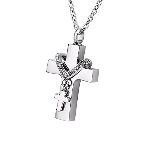 Double Cross Memorial Ash Urn Necklace With Crystal Stainless Steel Waterproof Jewelry - Pendant Cross Double