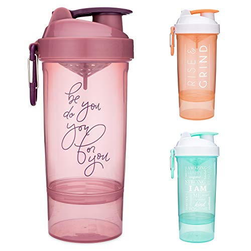 Smartshake Shaker Bottle with Motivational Quotes   27 Ounce Protein Shaker Cup   Attachable Container Storage for…