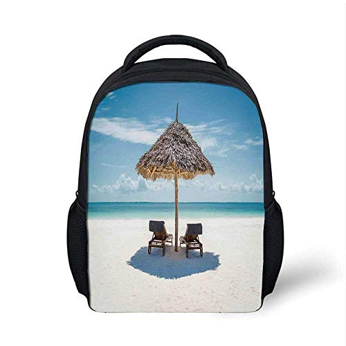 Seaside Stylish Backpack,Wooden Sun Loungers Facing Eastern Ocean under a Thatched Umbrella in Zanzibar for School Travel,9.4
