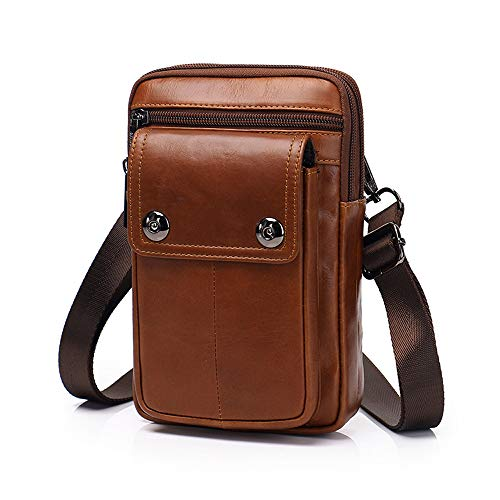 Zq Crossbody 7 New Leather 2018 cintura cellulare Bag Mini Uomo olio pollici Bag Retro telefono Pocket rrYF4