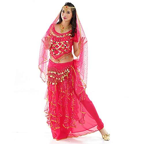 Maylong Womens Short Sleeve Belly Dancing Skirt Halloween Costume DW36 (hot Pink) -