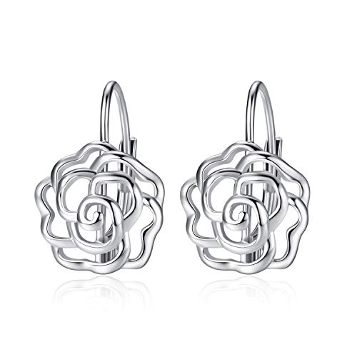 LUHE Rose Dangle Earrings for Women Girls 925 Sterling Silver Rose Flower Leverback Earrings