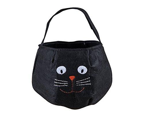 Black Cat with Whiskers 9 x 7.5 Felt Halloween Treat Carrier with Handle (Whiskers Cat Halloween)