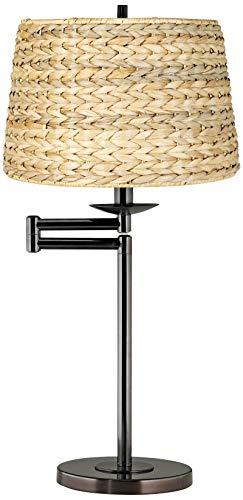 Woven Seagrass Drum Shade Bronze Swing Arm Desk Lamp - 360 Lighting