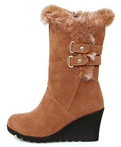 Image of IDIFU Women's Comfy Buckled Faux Fur Lined Wedge Mid Calf Snow Boots Winter Booties Medium Heels