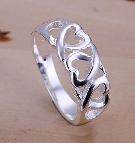 Multi Hearts Sterling 925 Silver Fashion Ring (Size 9)