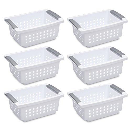 Sterilite 16608006 Small Stacking Basket, White Basket w/ Titanium Accents, 6-Pack (Stackable Basket)