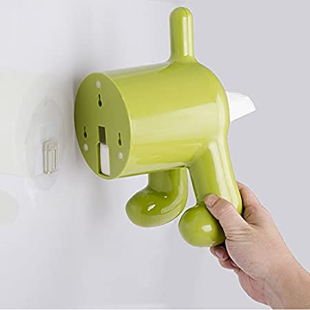 Dispensador de papel higi/énico con cubierta con forma de culata de madera de perro y pa/ñuelos soporte con autoadhesivo f/ácil instalaci/ón