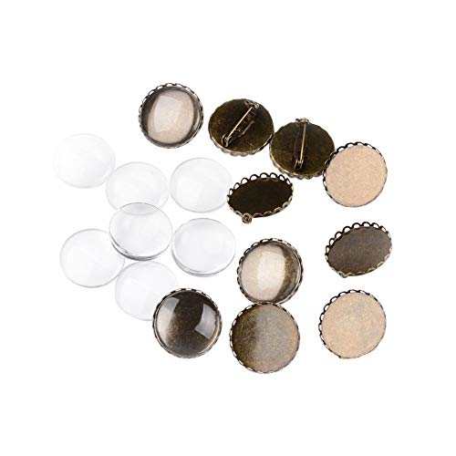 (PH PandaHall 10 Sets Brooch Settings Transparent Clear Domed Glass Cabochon Cover Nickel Free Antique Bronze Iron Tray Blank Bezel Brooch Findings for Jewelry DIY Making)