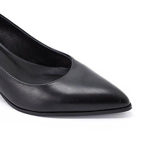 Damen Spitz Pumps Blockabsatz Mid Heels Damen black leder schuhe Schwarz A