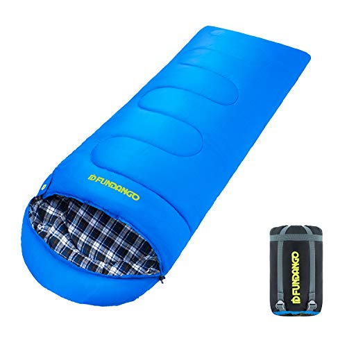 FUNDANGO Lightweight Compact Backpacking Camping Hiking Travel Waterproof Cotton Flannel Mummy Sleeping Bags for Adults Women Men Youth Kids Toddler Girls Boys, Summer Winter Warm Cool Cold Weather -