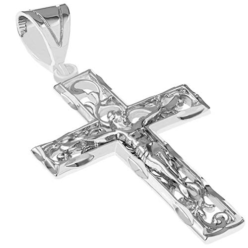 (Lifetime Jewelry Cross Necklace for Men & Women [ Large Filigree Crucifix ] 20X More Real 24k Gold Plating Than Other Pendant Necklaces (White Gold Crucifix Only - NO Chain))