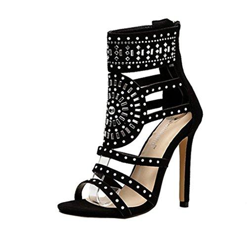 para Tacones Transparente plástico Peep de Sandalias Mujeres Las de de Botas Toe para Nueva Negro Cremallera Cortas Atractivas Zapatos Mujeres Sandalias OHQ Zapatos Mujeres 04BxwRqnS